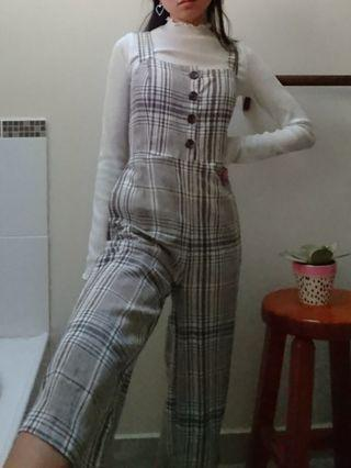 glassons checkered jumpsuit size 6 xs