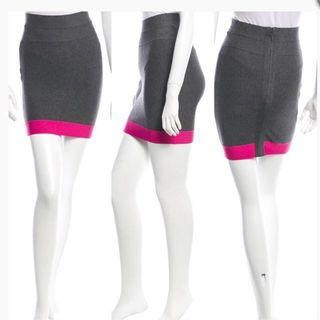 Beautiful Herve leger charlotte Signature Bandage Gray With Hot Pink Trim