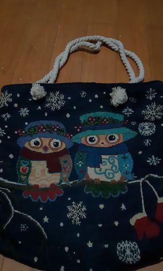 Woven / Textured Owl Design Bag (Blue)