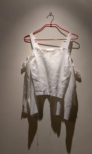 🚚 plus 1韓國製露肩袖綁蝴蝶結甜美七分袖上衣