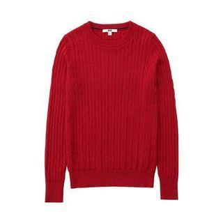 Uniqlo cotton cashmere cable crew neck sweater