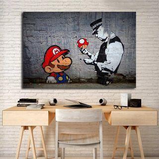 🚚 Banksy Super Mario Wallpaper HD Wall Art Print Canvas
