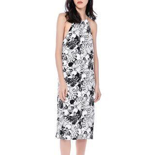 🚚 TEM Analise Racer-neck Midi Dress (midnight blue floral)