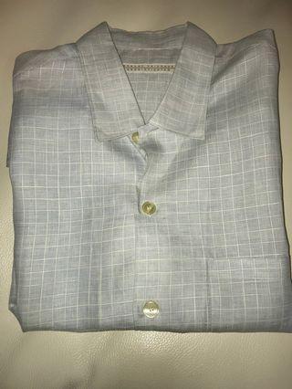 Robert Friedman linen summer light blue check shirt