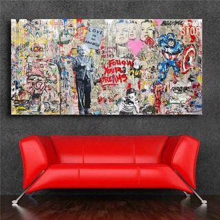 🚚 Mr. Brainwash Einstein Mural Banksy HD Wall Art Print Canvas