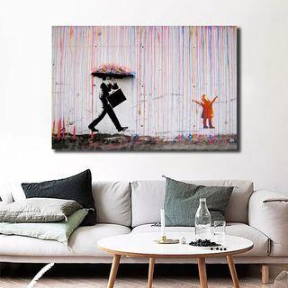 🚚 Color Rain By Banksy HD Wall Art Canvas Print