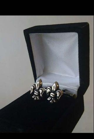 Fleur-de-Lis silver cufflinks cuff links