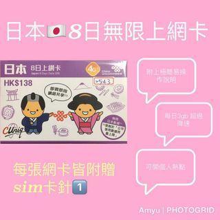 日本🇯🇵8日無限上網卡👍