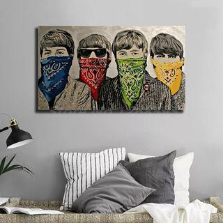 The Beatleser In Bandannas By Banksy HD Canvas Painting