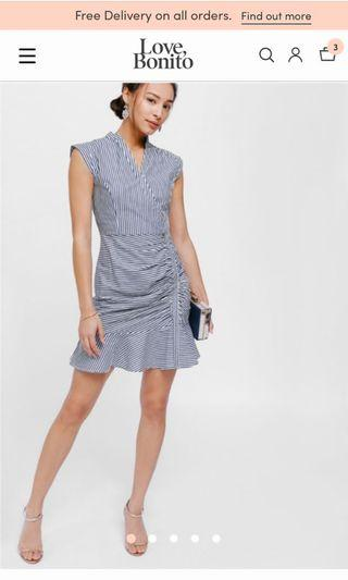 Love bonito ruched striped flounce dress (bk lug)