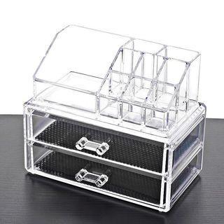 Clear Acrylic Cosmetic Makeup Organizer 2 Layer Storage Organizer