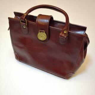🆕 Luxury Vintage Brahmin Cognac Mini Schooner Crossbody Hand Bag
