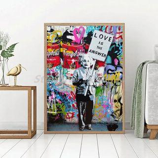 🚚 Einstein Love Is The Answer By Banksy Canvas Posters Prints