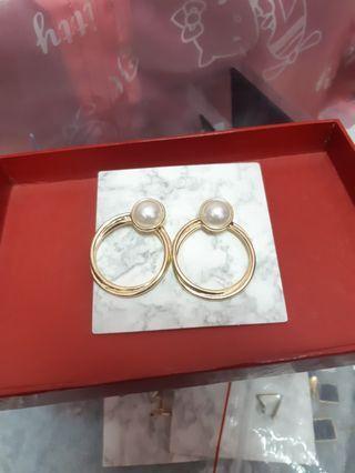 🚚 珍珠圓圈耳環