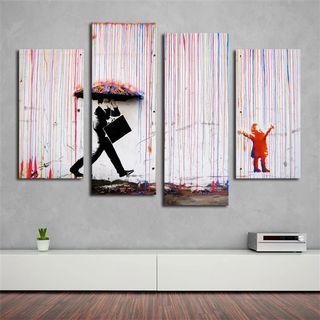 🚚 Banksy Art Colorful Rain Wall Canvas Wall Art Painting (30X60CMX2PCS, 30X80CMX2PCS)