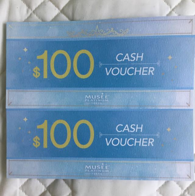 2 x $100 Musee Platinum voucher for $150