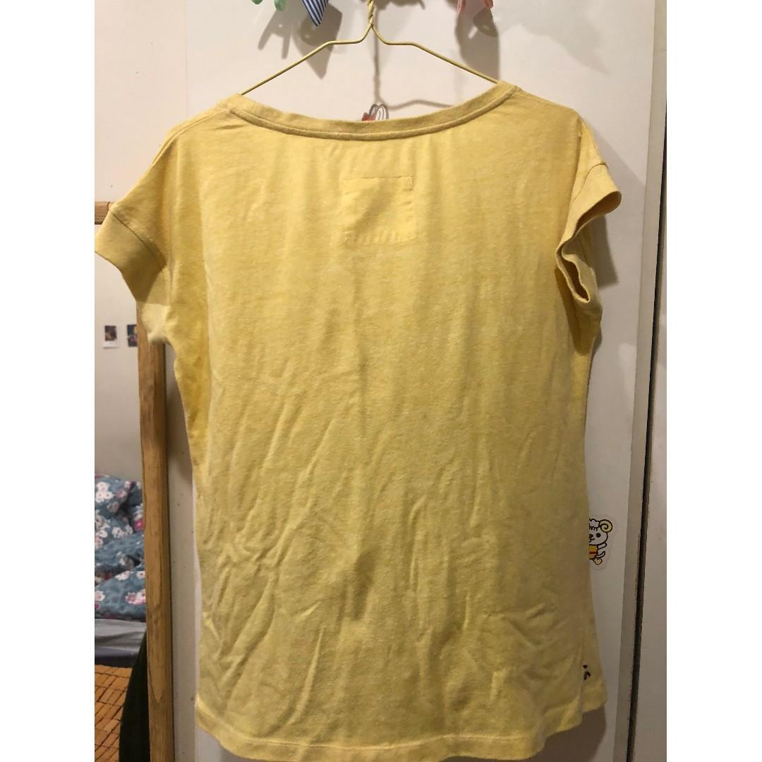 a la sha 黃色圓領口袋長版上衣