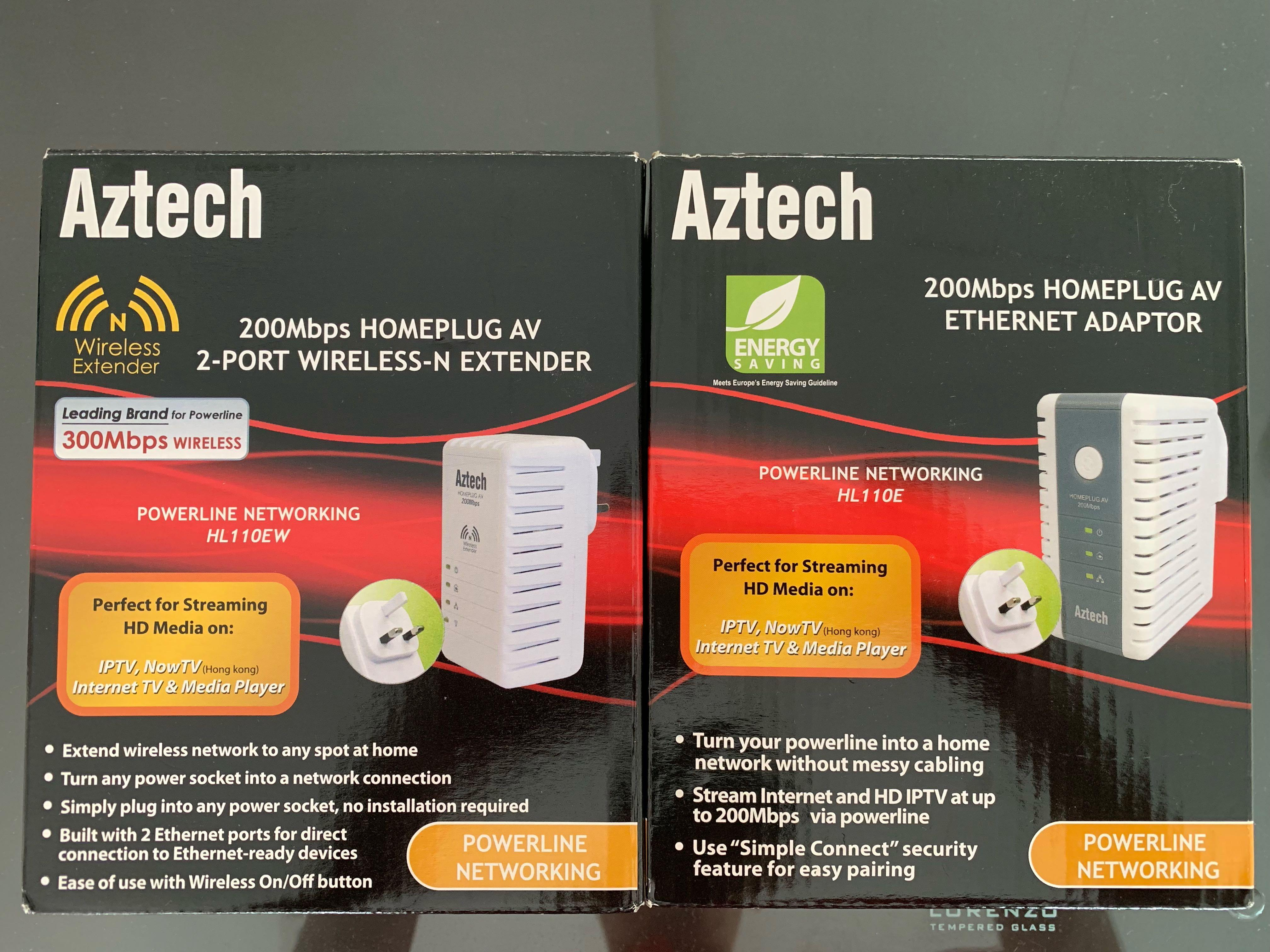 Aztech Homeplug 200mbps Powerline Networking 2 pcs