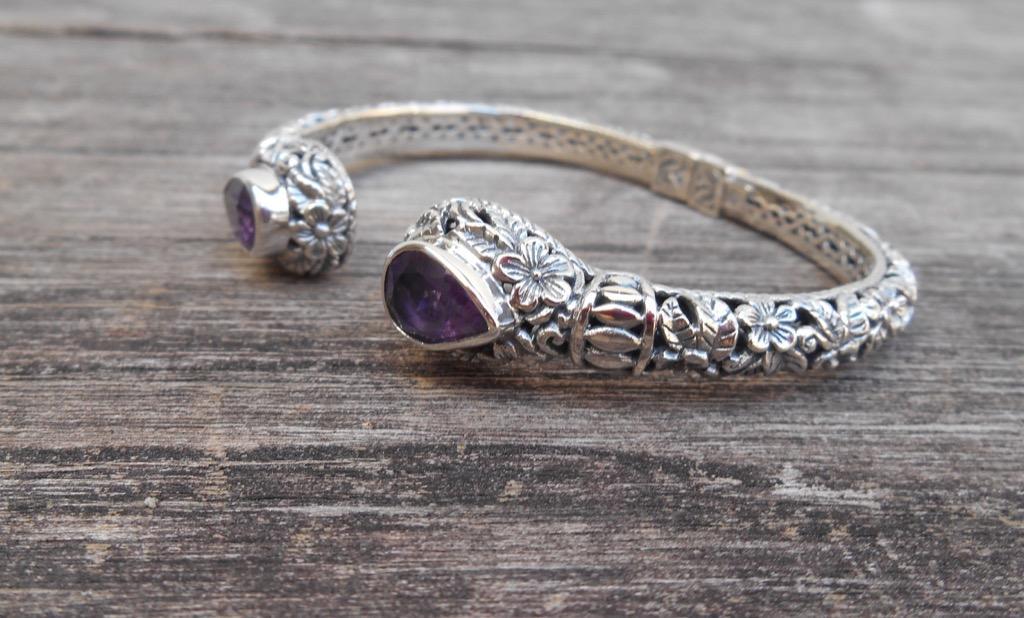 Bali Solid Silver sterling Amethyst gemstone bangle bracelet / silver 925 / Bali handmade jewelry / 18 cm