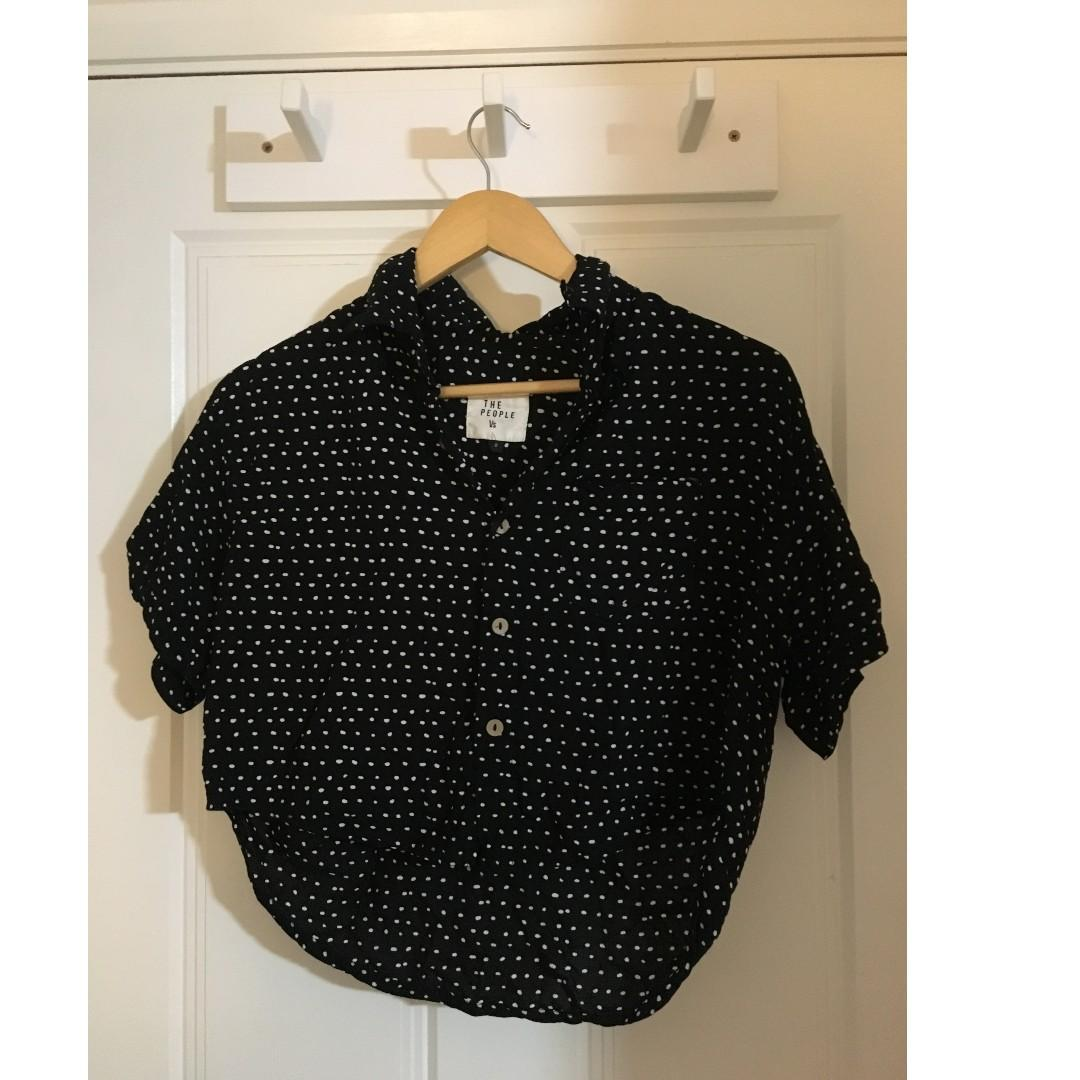 Black and White Spots Button Up Shirt - The People Vs - Size S