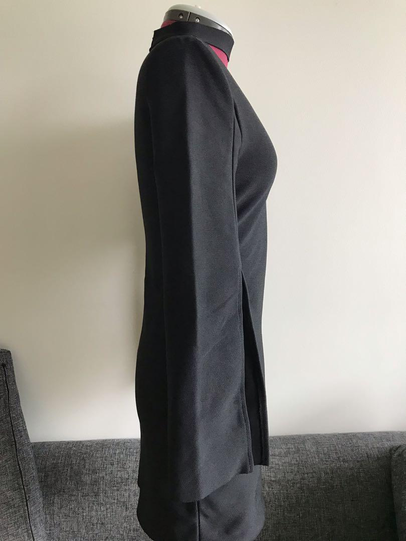 BNWOT black stretchy dress with flared sleeves and choker collar