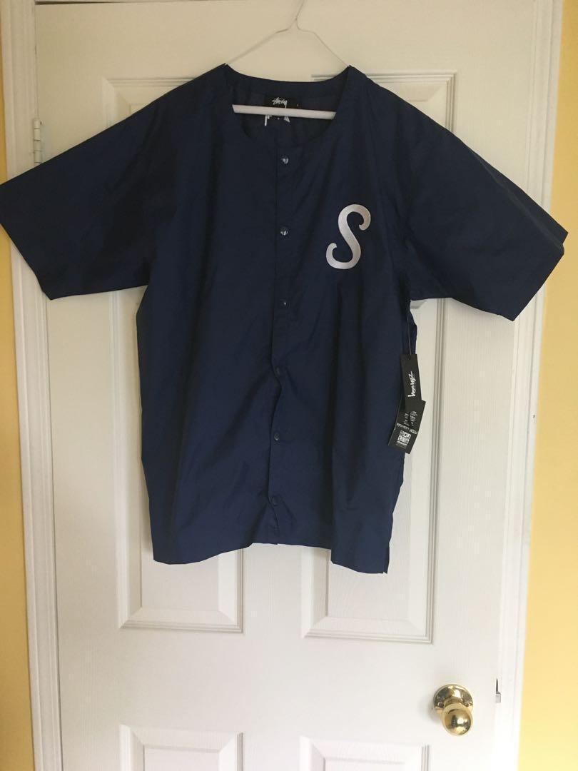 Brand New Stussy Navy Blue Baseball Jersey Size Large