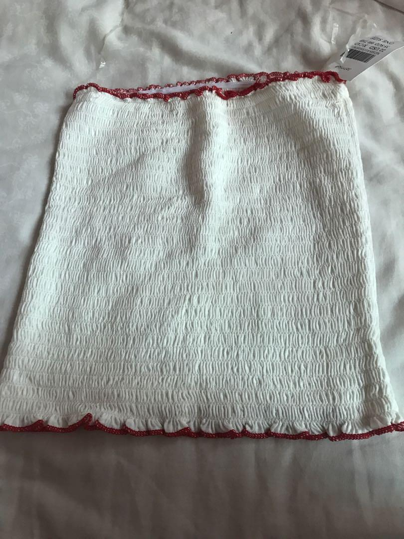 brandy melville red trimmings tube top