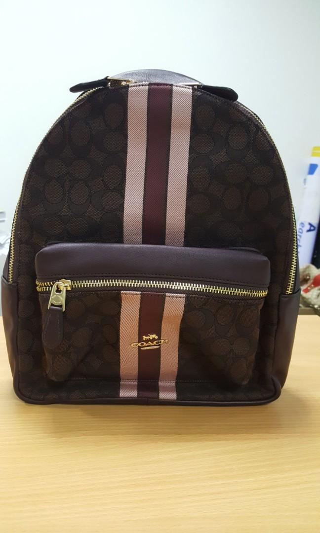Coach Signature Jacquard Medium Charlie Backpack Colour Brown Multi