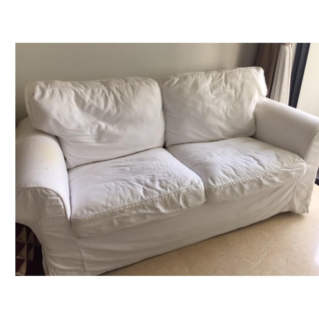 Coasy White Ikea Ektorp Two Seat Sofa Incl Cover