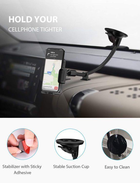 Convenient Long Gooseneck Car Phone Mount Holder
