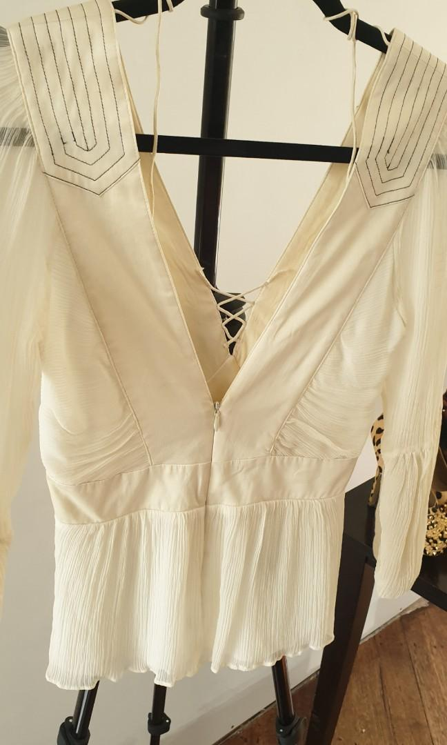 Elegant SEDUCE Designer Dress Top - Off White - Sz 8