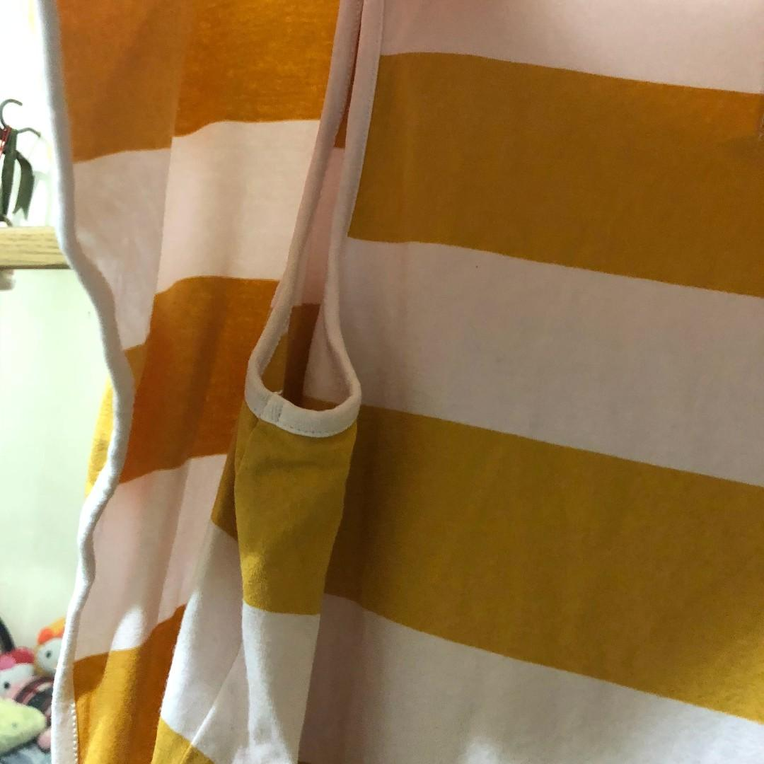 gozo 芥末黃條紋圓領小飛鼠袖上衣