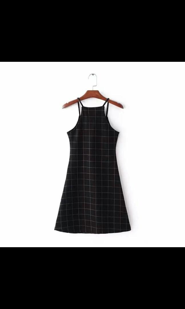 Grid Black Dress