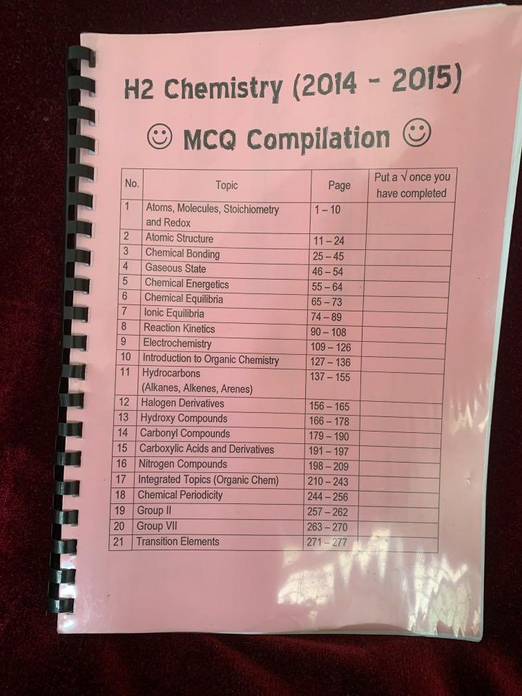 H2 Chemistry mcq complication 2014-2015 A levels JC