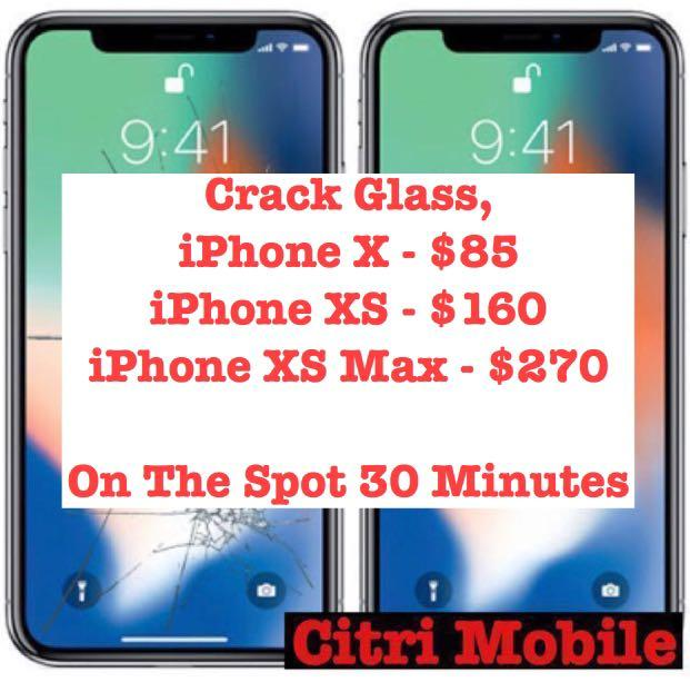 iPhone 6 7 8 Plus X XS Screen Glass Repair, Samsung Repair