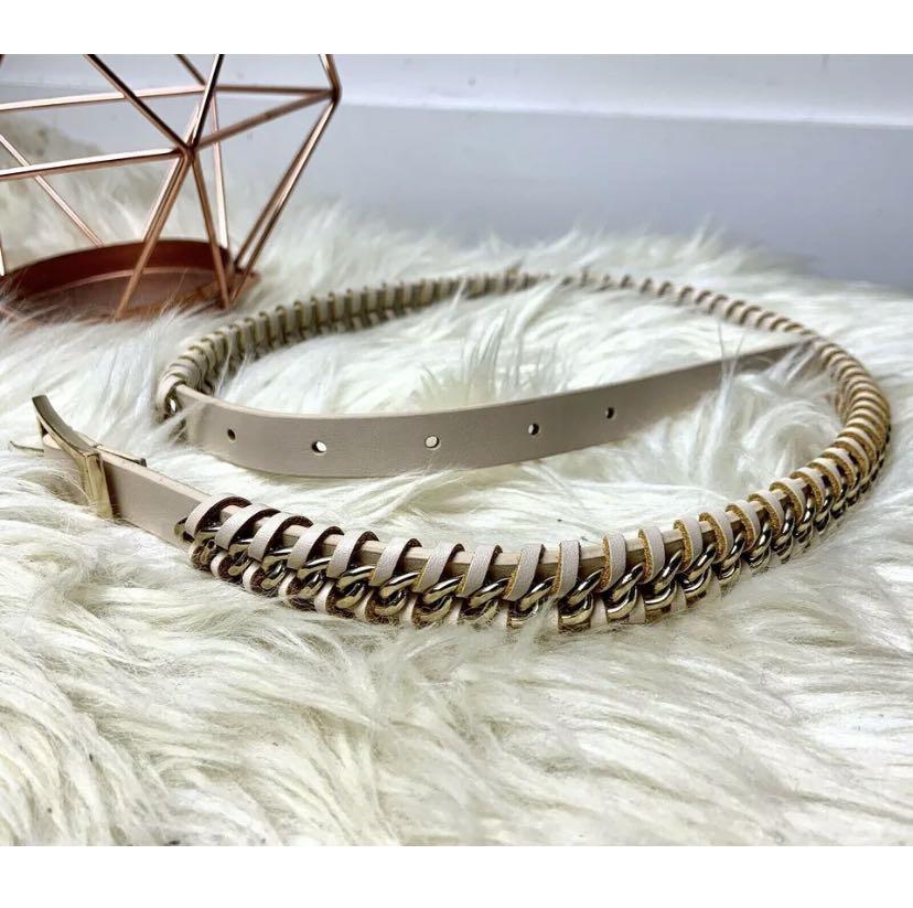 Kookai sz 2 / S beige gold chain belt designer chic work smart casual