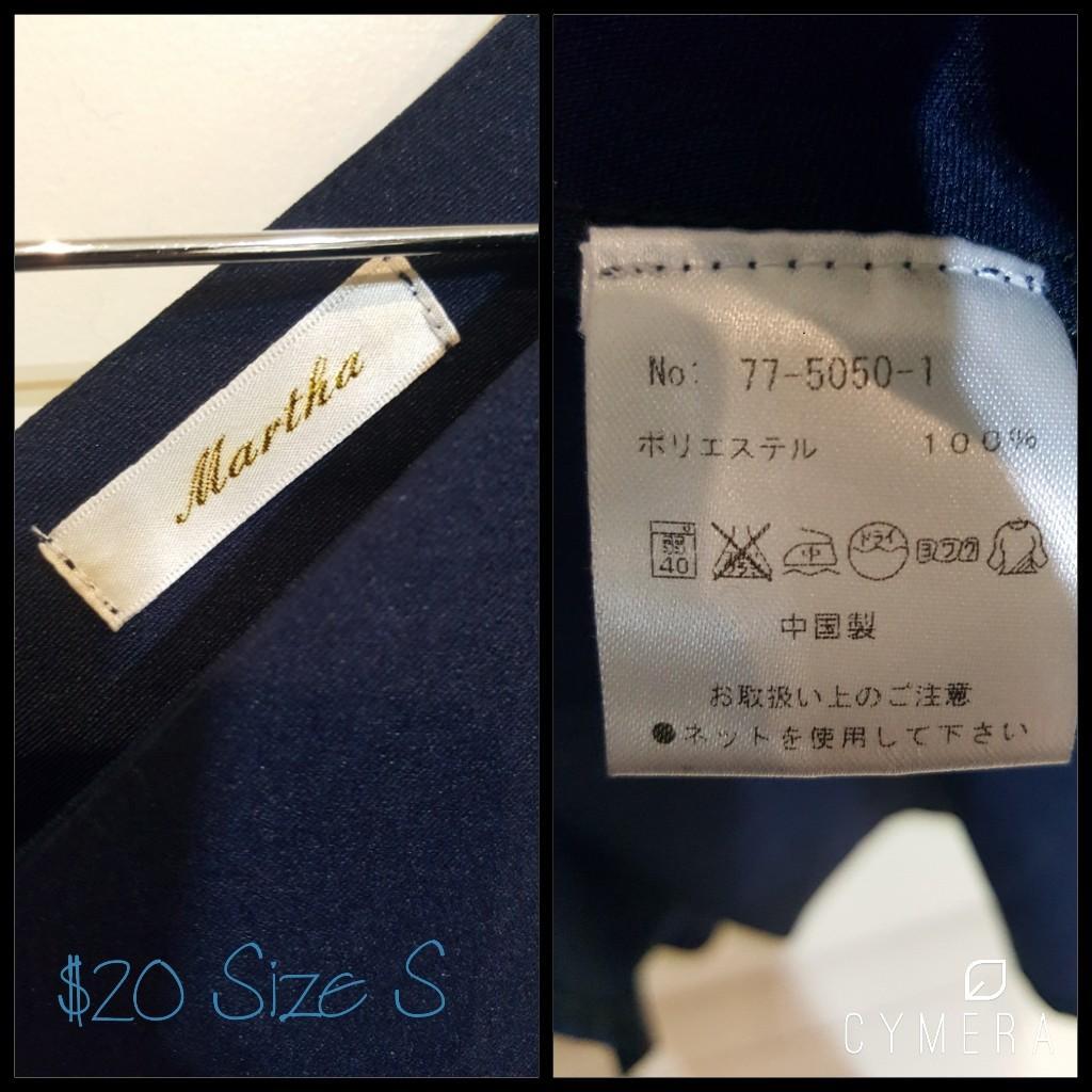 """Martha"" Japanese Brand Puff 3/4 Sleeved Navy Midi A-Line Dress (Size S)"