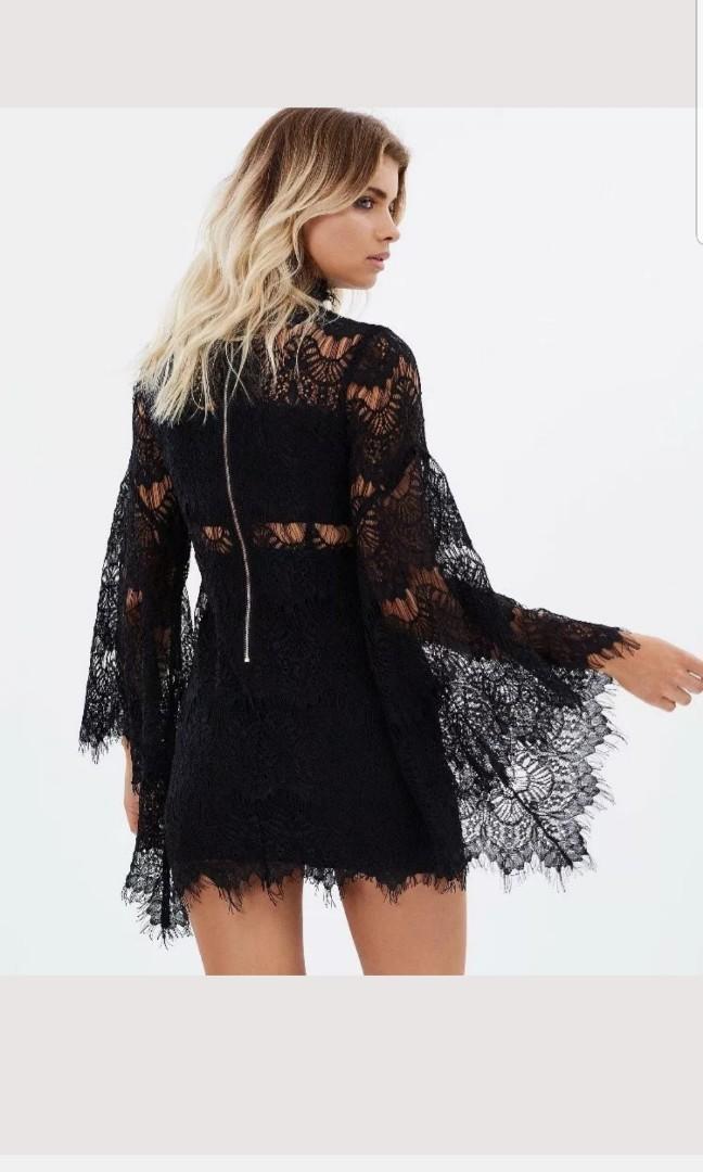 Minkpink Drama Queen Black Lace Dress Size XS / AU 8