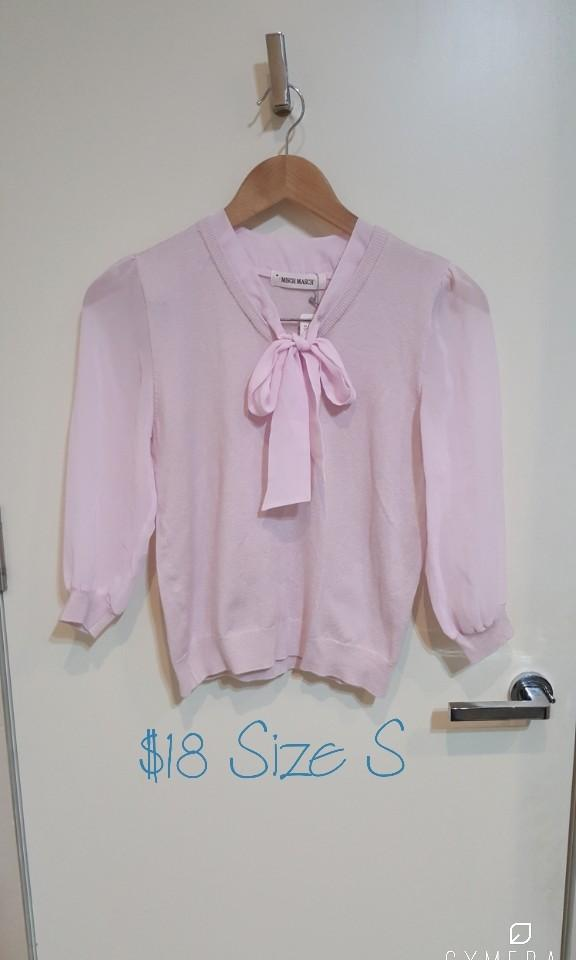 """""""Misch Masch"""" Japanese Brand Baby Pink Bow Tie Sheer 3/4 Sleeve Knit Top NWT (Size XS-S)"""