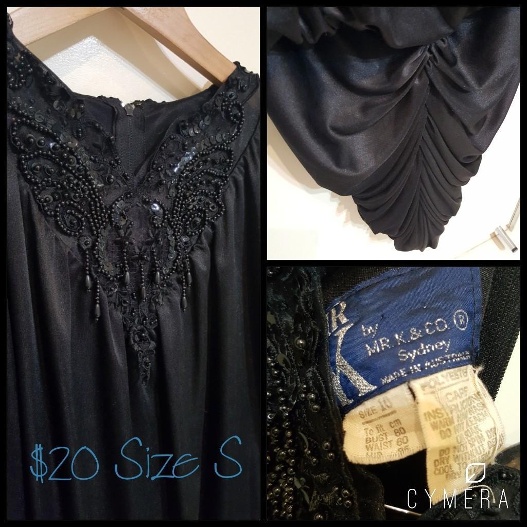 """Mr K"" Vintage Gorgeous Black Sequinned Long Sleeve Dress (Size 10 - modern 8)"