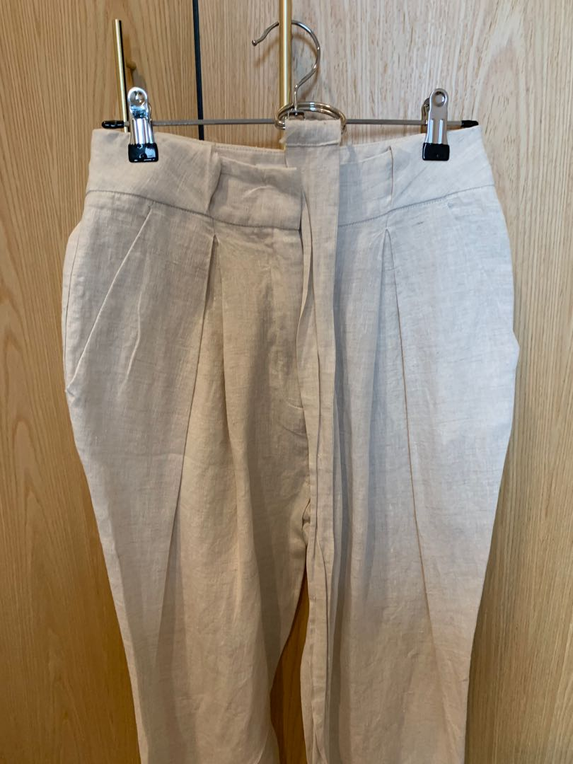 NEVER WORN SEED HERITAGE HIGH WAISTED LINEN NATURAL PANT SIZE 6 WITH BELT