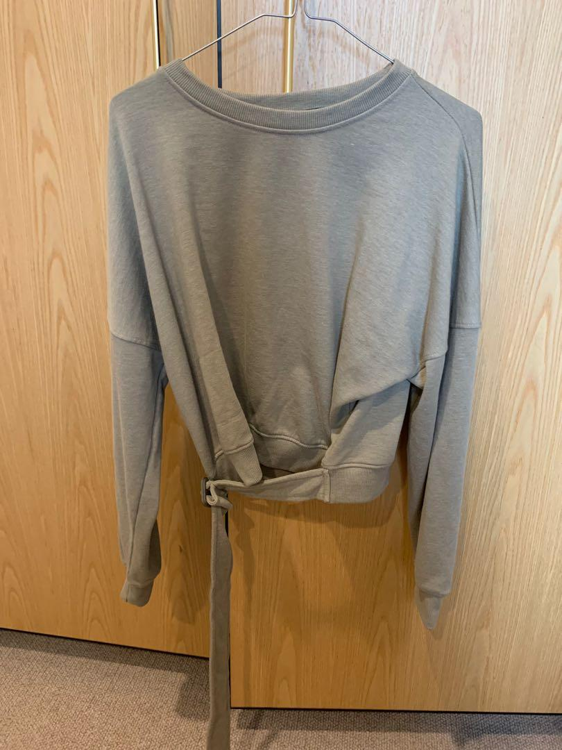 NEW MISSGUIDED NATURAL KHAKI FLEECE CROPPED JUMPER WITH BELT 10