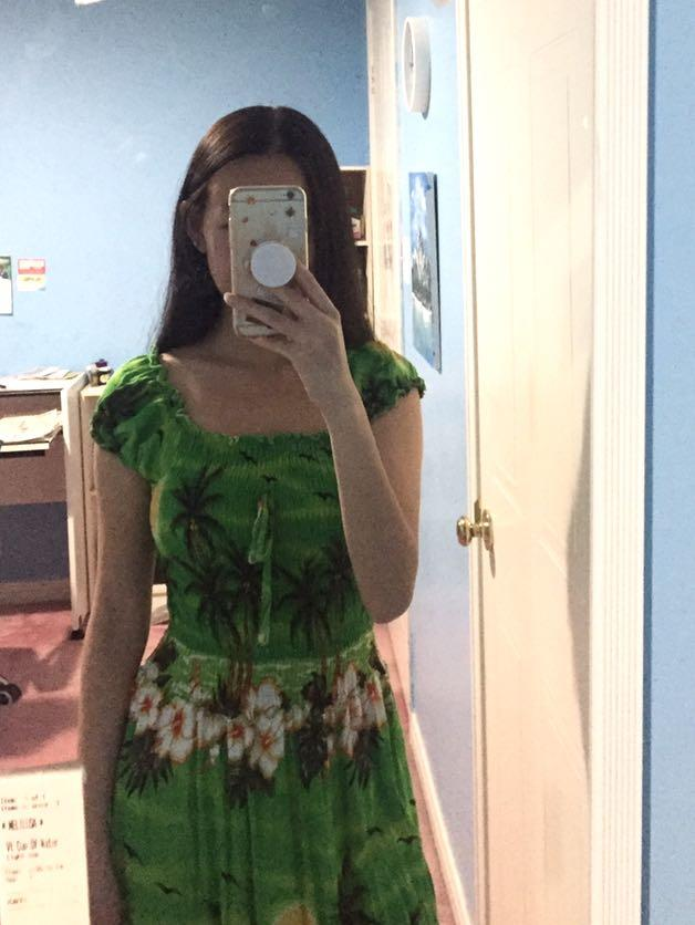Off Shoulder Ruched Tropical Floral & Green Long Dress