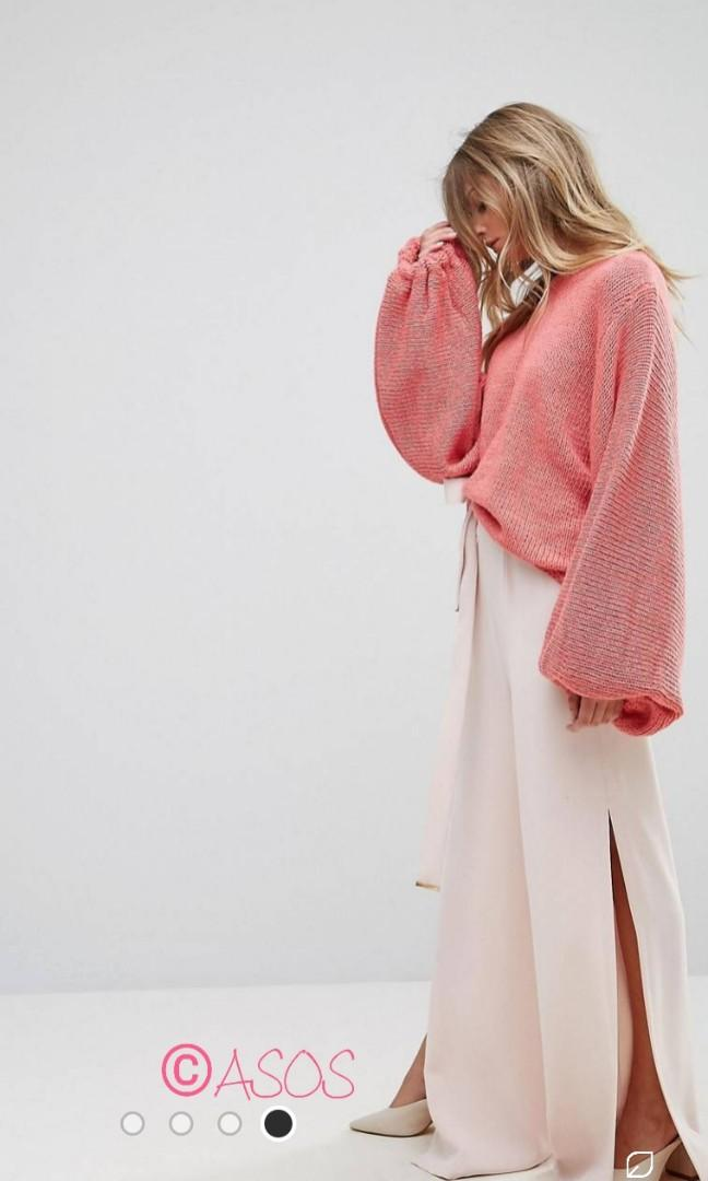 """""""Oneon"""" Beautiful Coral Pink Oversized Balloon Sleeve Knit (Size M)"""