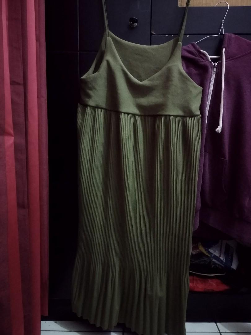 overall mididress dress army hijau