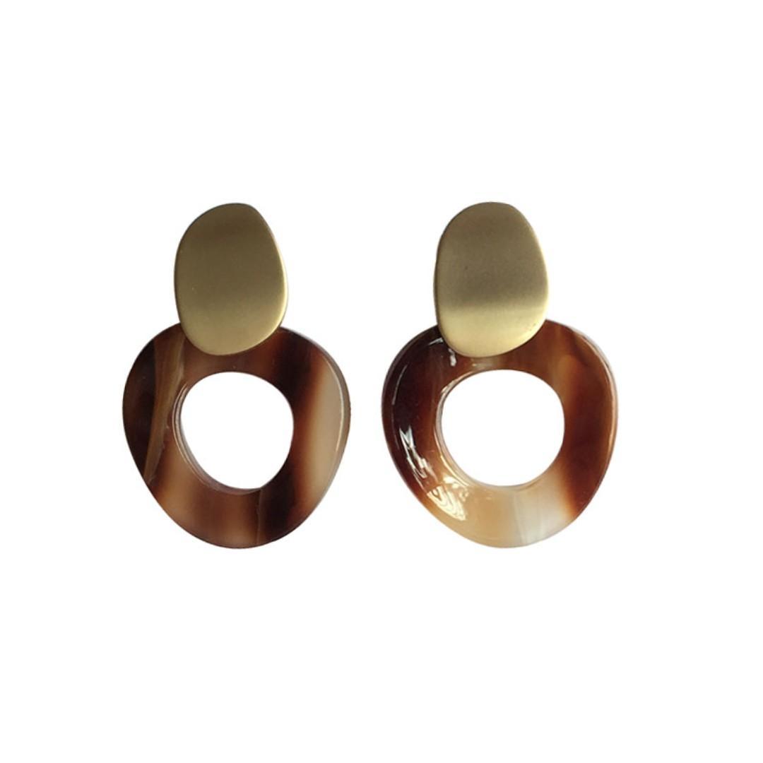 pre-order -Gold and marble details loop earrings