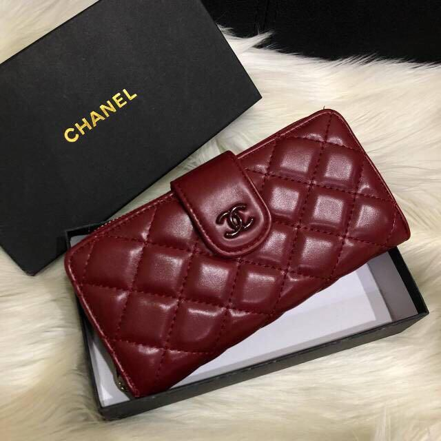 Semi Authentic Chanel Classic Lamb Skin Long Wallet / dompet wanita
