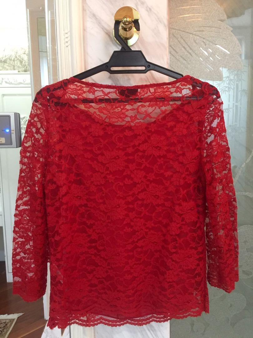 Topshop Red Lace Top