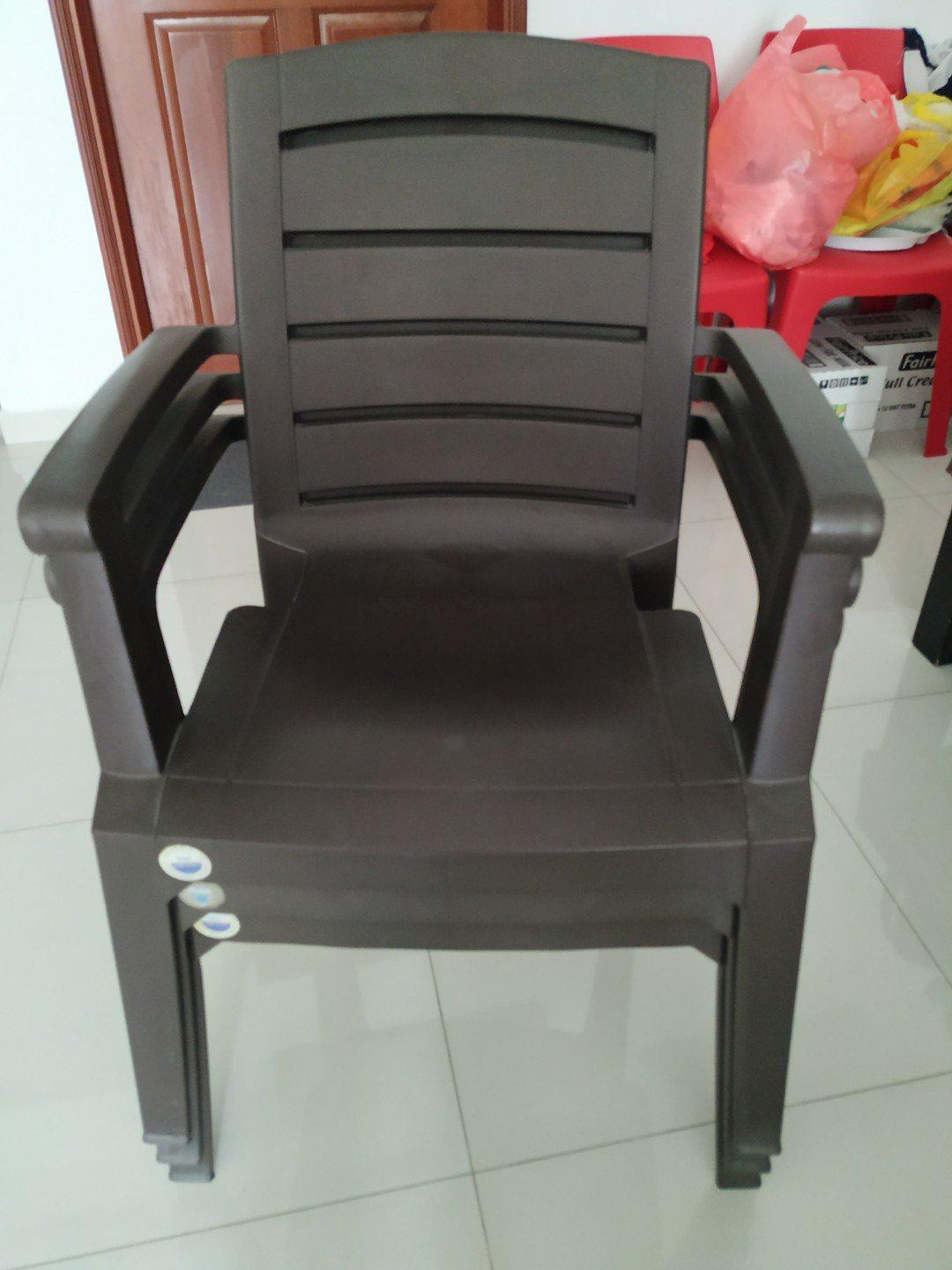 Two Plastic Arm Chair (stackable), Furniture, Tables