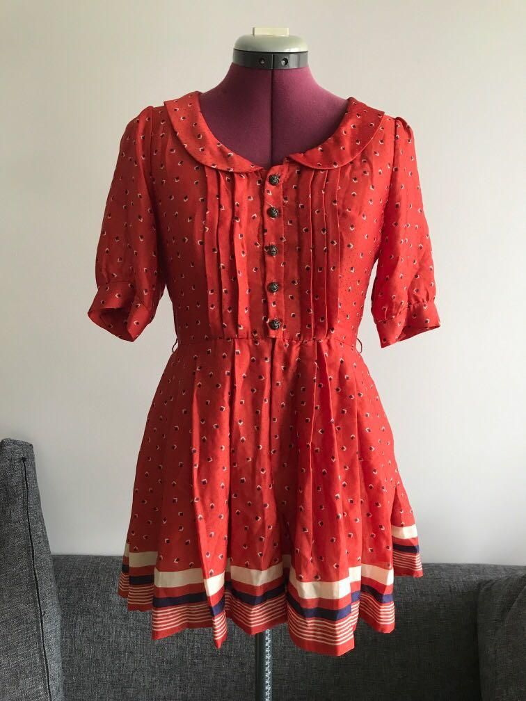 Vintage retro red sunburnt colour playsuit with Peter Pan collar